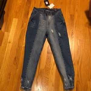 high waisted color block boyfriend jeans
